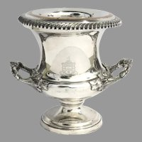 Early 1800's English Old Sheffield Fused Plate Champagne Wine Cooler Bucket with Coat of Arms