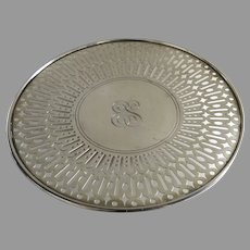 Vintage Gorham Sterling Silver Reticulated Round Footed Serving Tray