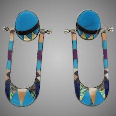 Vintage Zuni Inlay Swing Swivel Drop Long Earrings Sterling