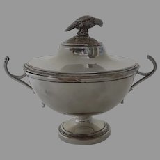 French Early 19th Century Silverplate Small Compote with Lid Parrot Bird Finial