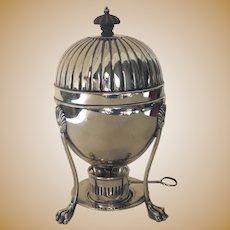19th Century Silver Plated Egg Warmer Coddler Server Paw Feet