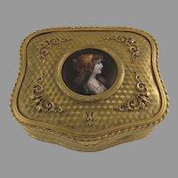 French Gilt Enamel Portrait Jewelry Box