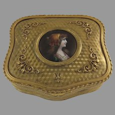 French Gilt Enamel Portrait Jewelry Box