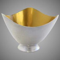 Vintage Carl F. Christiansen Denmark Enamel Silver Plated Yellow Enamel Wavy Bowl