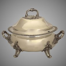 Old Sheffield Fused Silver Plate Tureen with Applied and Paw Feet c 1825