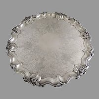 "Very Large Old Sheffield Snail Foot Tray Round 23"" c 1840"