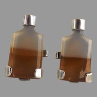 Gra-Wun Raymond Graves Sterling Silver Agate Whiskey Bottle Cufflinks