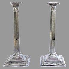 Pair of Sheffield Plate Candlesticks Corinthian Column