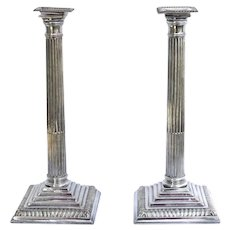 Pair of Sheffield Plate Candlesticks Corinthian Column