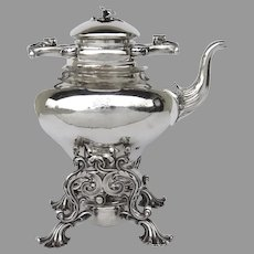 19th Century English Silver Plate Tea Pot on Stand