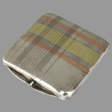 Pill Box Stamp Case Compact Sterling 14k Rose and Yellow Gold  Geometric Plaid