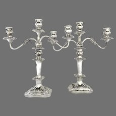 20th Century Pair of Silver Plated Candelabra by Birmingham Silver Company