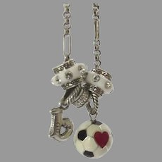 Vintage Brighton Necklace Charms Heart Soccer Ball