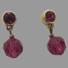 Vintage Pink Swarovski Crystal Dangle Earrings 14k Posts
