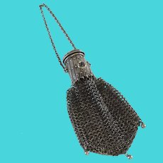 Sterling Silver Mesh Coin Purse Victorian Late 19th Century Chatelaine Miser Expands