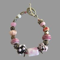 "Vintage 2007 Glass Bead Bracelet Sterling ""Hope Bracelet Project"" Pinks"