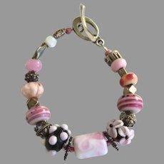 "Vintage 2007 Glass Bead Bracelet Sterling ""Hope Bracelet Project"" Pinks"