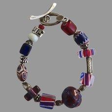 "Vintage ""Hope Bracelet Project"" Glass Bead Sterling Bracelet"