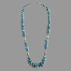 """Vintage Silver Turquoise Stone 16"""" Necklace"""