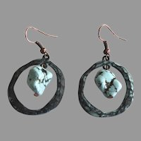 Vintage Pair of Copper Earrings with Natural Turquoise Stones