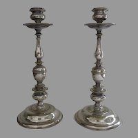 Pair of 18th Century Tall Dutch Candlesticks