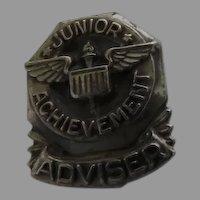 Junior Achievement Adviser Pin, Vintage Sterling Silver Lapel Pin LGB Lloyd Garfield Balfour Collectible Pin