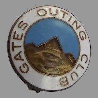 "Vintage Enamel Lapel Pin ""Gates Outing Club"" Colorado Mountain Climbing Club"