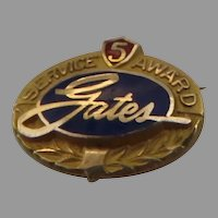Vintage Gates Rubber and Tire Company 5 Year Service Award Gold Filled Enamel