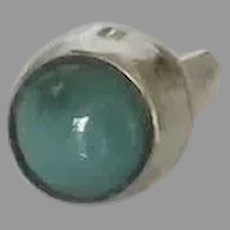 Vintage Native American Sterling Turquoise Tie Tack Lapel Pin
