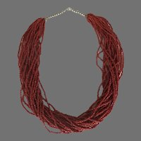 Vintage Multi Strand Glass Coral Colored Beads Necklace