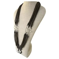 Vintage Early Stephen Dweck Signed Statement Bib Necklace Crystal Quartz Multi Strand