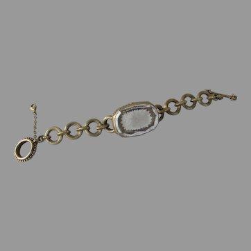 Vintage Stephen Dweck Signed Bracelet Bronze Crystal Quartz Intaglio