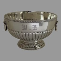 Late 19th Century English Silver Plated Bowl with Lion Head Ring Handles