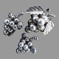 Vintage Sterling Silver Grape Cluster Earrings and Brooch Made in Mexico