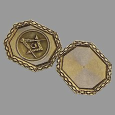 Vintage 14K Yellow Gold Cufflink Mason's Compass by Strobel & Crane Newark, NJ Re-purpose