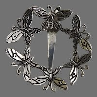 Vintage Butterfly Circle Hair Clip Brooch Pin by Emilia Cashilh