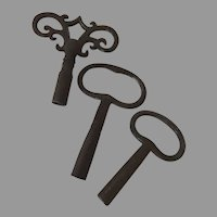 Group of Three Old Iron Clock Keys