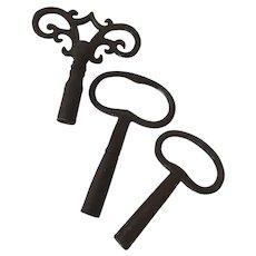 Group of Three Old Iron Clock Keys