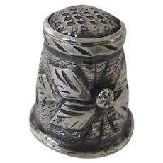 Vintage Sterling Silver Thimble with Raised Flower Motif