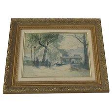 Watercolor Pencil Painting  by Francois Leteurtre French Impressionist 19-20th Century Pont de Suresnes