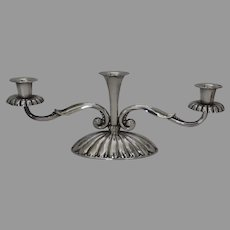 Vintage Silver Plated Two Arm Modern Candelabra with Center Vase by Hans Jensen Denmark