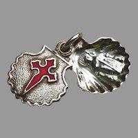 Vintage Sterling Silver Charm Medal Red Enamel St. James Cross Shell