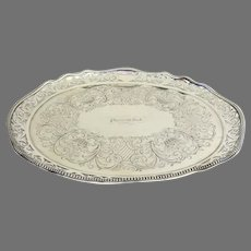 "Historic Nautical Silver Plated Serving Tray from ""Plymouth Rock"" Steam Paddle Boat c 1860"