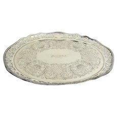 """Historic Nautical Silver Plated Serving Tray from """"Plymouth Rock"""" Steam Paddle Boat c 1860"""