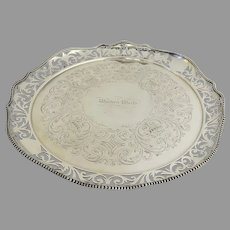 """Historic Nautical Silver Plated Serving Tray from Steam Paddle Boat c 1860 """"Western World"""""""