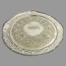 "Historic Nautical Silver Plated Serving Tray from Steam Paddle Boat c 1860 ""Western World"""