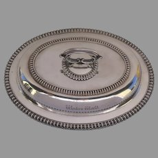 """Elkington & Co Silver Plate Vegetable Entree Serving Piece from from Steam Paddle Boat c 1860 """"Western World"""""""
