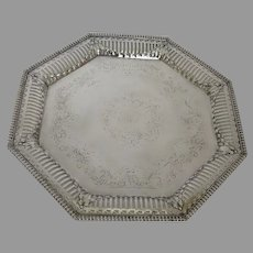 Early 1900's Ellis Barker Silver Plate Tray Octagon Shaped