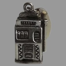 Vintage Sterling Silver Sun Bell Cabin Charm Slot Machine Las Vegas