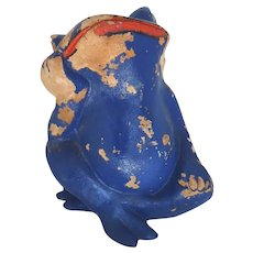 Vintage Super Cute Amusing Terra Cotta Frog Garden Ornament Painted